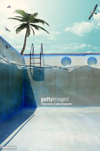 surface level swimming pool - step ladder stock photos and pictures