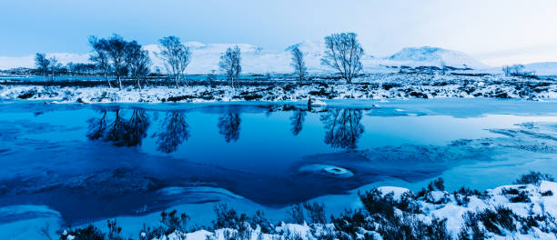 A surface level view of a snowy landscape in The Scottish Highlands at dusk - stock photo