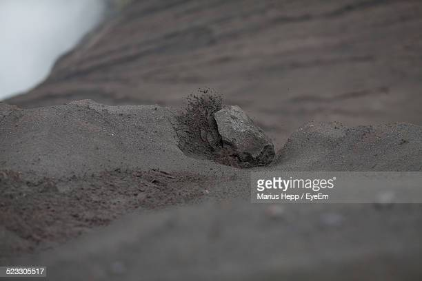 Surface Level View Of Stone On Volcanic Mountain
