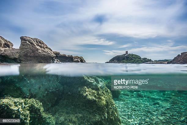 surface level view of water surface, chia, sardinia, italy - fondo marino fotografías e imágenes de stock