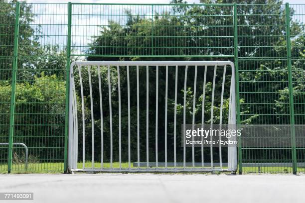 surface level view soccer goal post against trees - football bulge stock photos and pictures