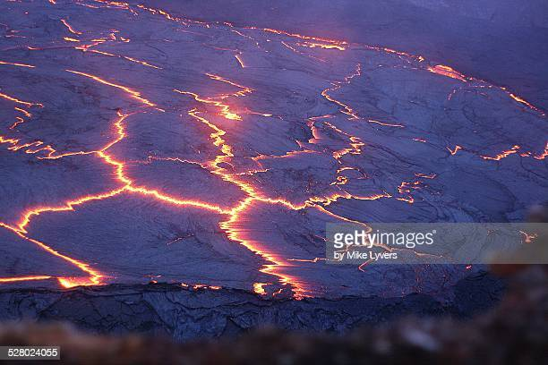 surface of lava lake - plate tectonics stock photos and pictures