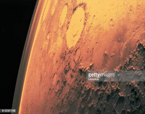 Surface of Mars taken by Viking 1 The round areas are impact craters where asteroids have hit the planet 1975