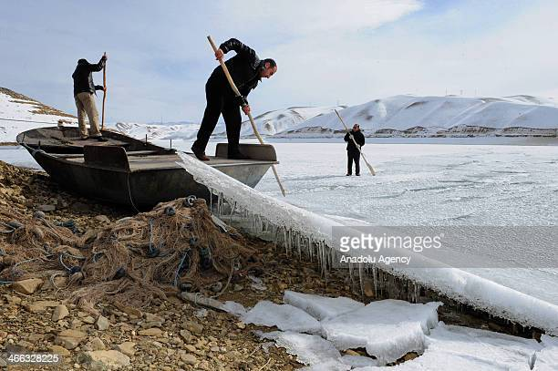 Surface of Zernek Dam Reservoir with 105 million cubic meters water capacity is covered with ice because of the freezing cold waves of the dam...