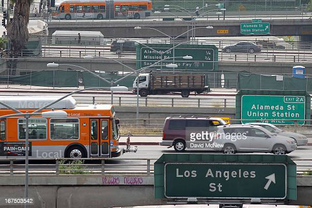 Surface street traffic corsses above the US 101 freeway on April 25 2013 in Los Angeles California The nation's second largest city Los Angeles has...