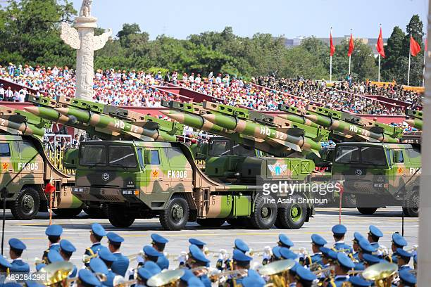 Surfacetoair missile 'HQ12' drive past the Tiananmen Square during a military parade on September 3 2015 in Beijing China China is marking the 70th...
