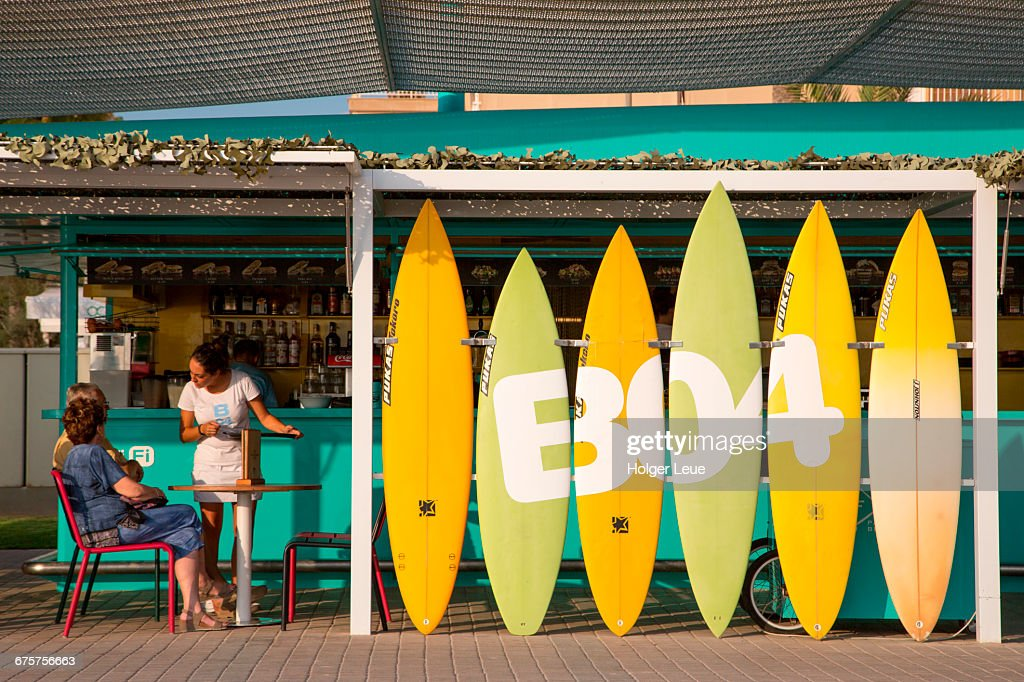 Surfboard Decoration At Balneario 4 Snack Bar Stock Photo   Getty Images