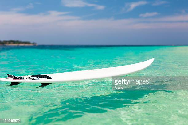 surfboard in ocean - surfboard stock pictures, royalty-free photos & images