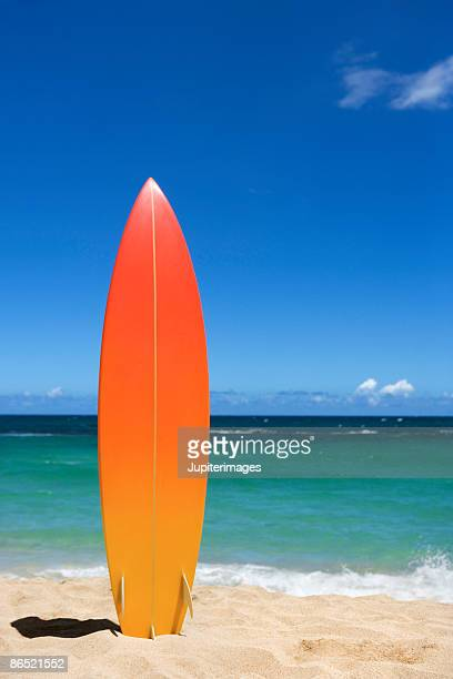 surfboard on beach - surfboard stock pictures, royalty-free photos & images