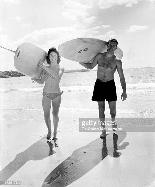 Surfboard riders at Manly Beach Sydney 27 September 1959