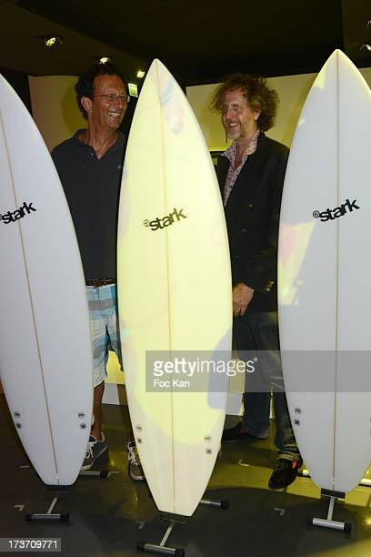 Surfboard shaper Jean Pierre Stark and Fabrice de Rohan Chabot attend the 'Fiat Italian Beach' party hosted by Technikart and Crazy Baby at The Motor...