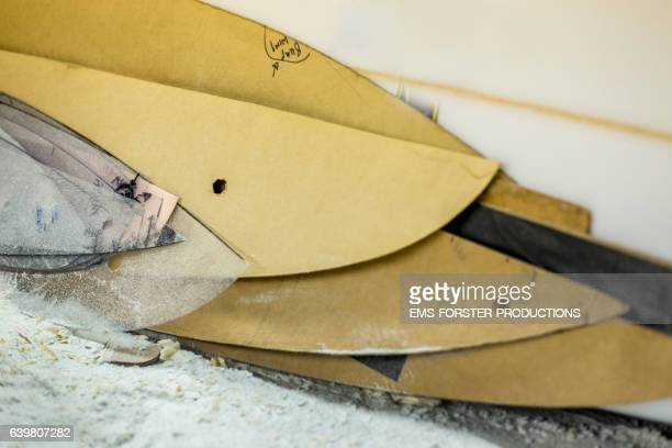 surfboard templates  in workshop - ems forster productions stock pictures, royalty-free photos & images