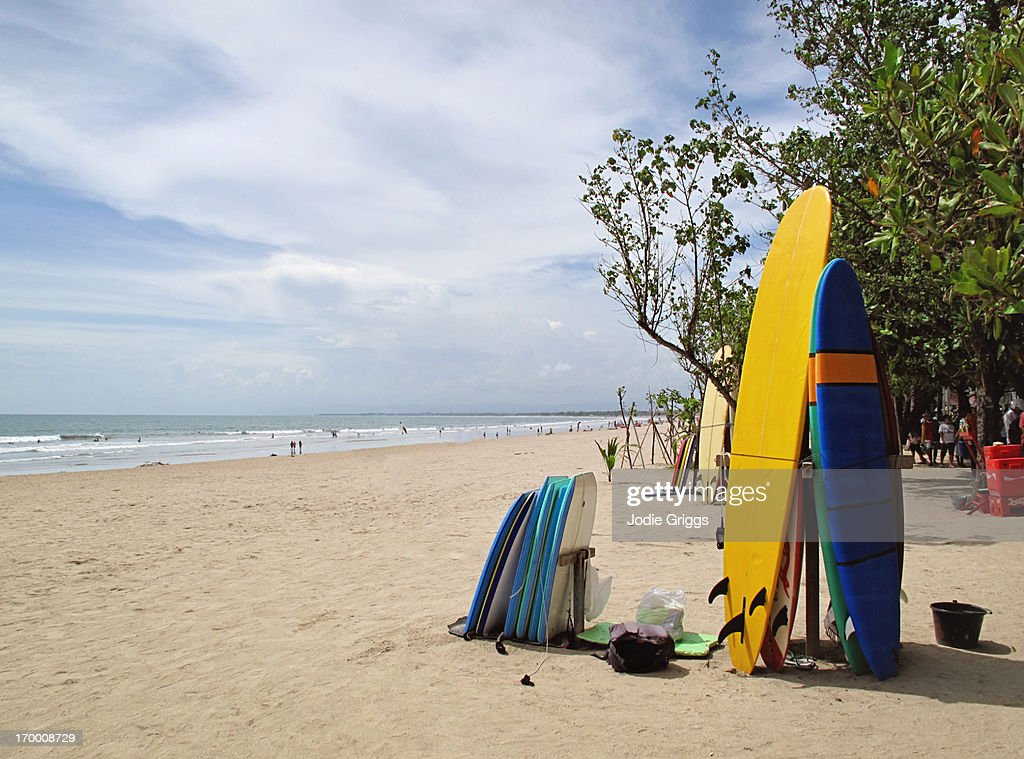 Surfboards And Body Boards For Hire At The Beach Stock Photo