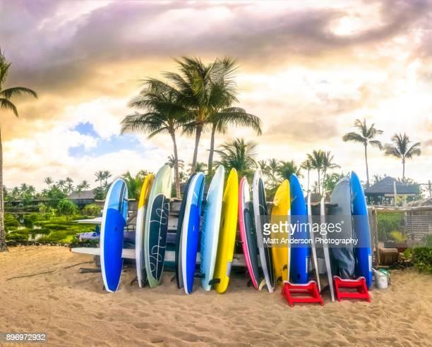 surfboards kukio beach - california photos stock photos and pictures