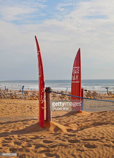surfboards on the agadir beach - agadir photos et images de collection