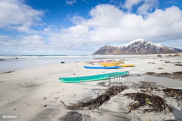 surfboards on the beach, lofoten islands, norway - lofoten stock pictures, royalty-free photos & images