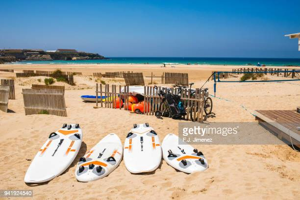 surfboards on the sand on the beach of los lances in tarifa - tarifa stock photos and pictures