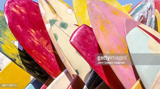surfboards - waikiki stock pictures, royalty-free photos & images