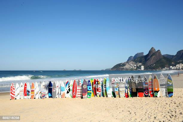 Surfboards with sponsor logos of the United States Olympic Committee sit on Ipanema Beach in Rio de Janiero, Brazil on August 1, 2016.