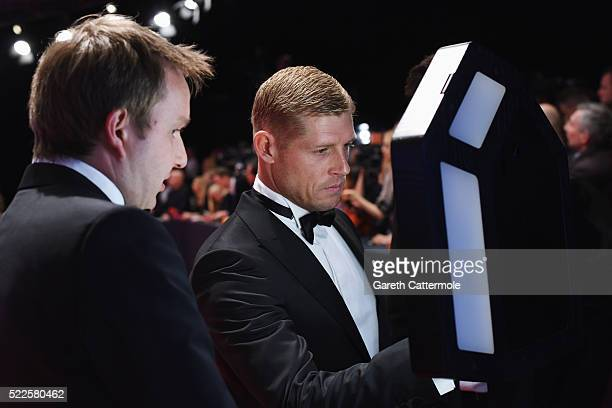 Surfer and Laureus World Comeback of the Year Award Nominee Mick Fanning in the Laureus Cyber Suite attends the 2016 Laureus World Sports Awards at...