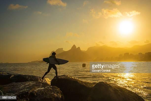 Surfer at Arpoador, Rio de Janeiro.