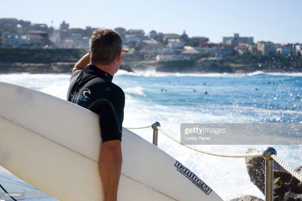 Surfer at Bronte Beach. : Stock Photo
