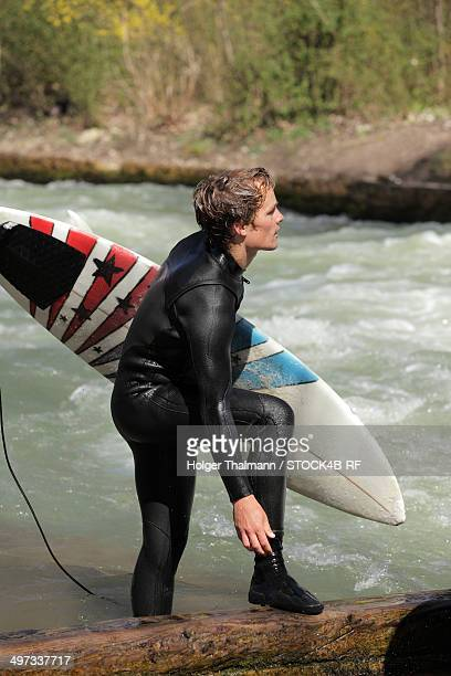 Surfer at Eisbach, Munich, Bavaria, Germany