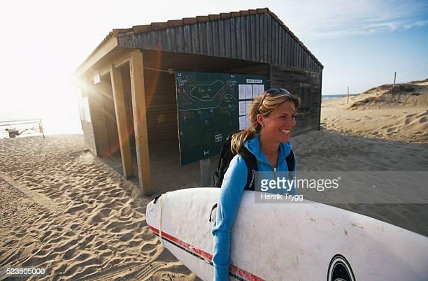 Surfer at Hossegor Beach in France