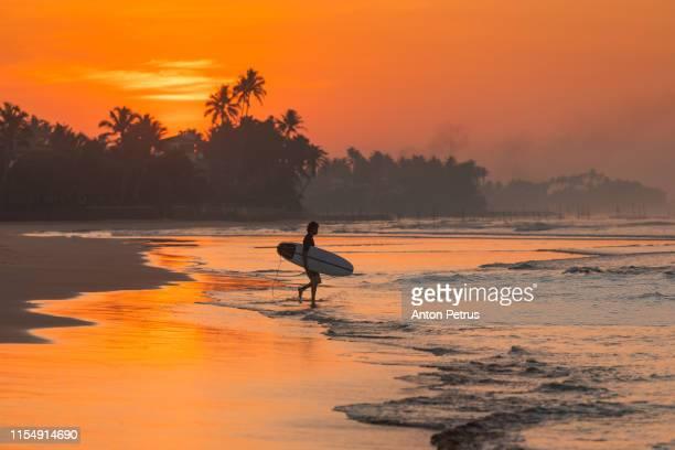 surfer at sunrise on the shores of the indian ocean - bali fotografías e imágenes de stock