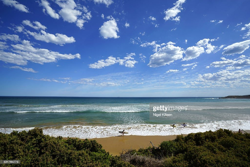 Surfer At Torquay Beach Victoria Australia Stock Photo