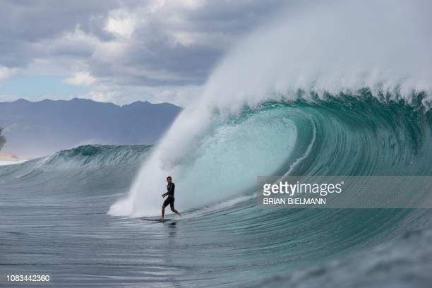 TOPSHOT Surfer Barron Mamiya competes in Da Hui Backdoor shootout final day at the Pipeline on Oahu's North Shore on January 16 2019 / Restricted to...