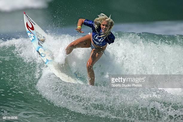 Surfer Bethany Hamilton rides a wave circa 2009 at US Surfing Open Huntington Beach California