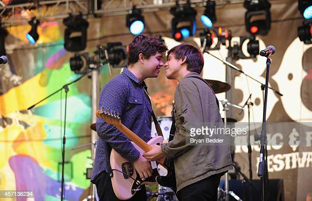 Surfer Blood performs during CBGB Music Film Festival 2014 Times Square Concerts on October 12 2014 in New York City