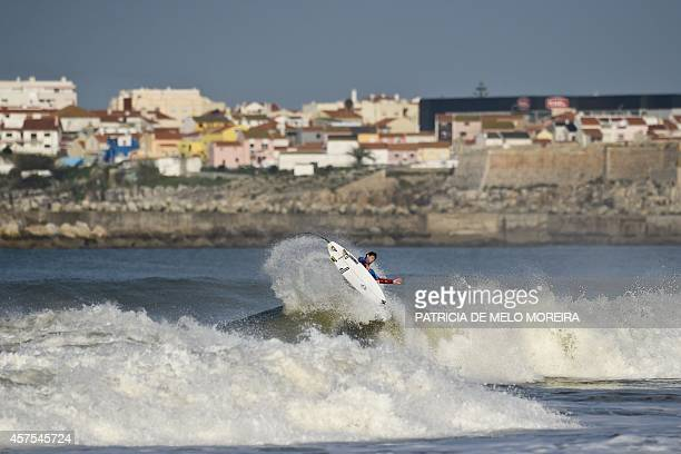 US surfer Brett Simpson competes in the round 4 heat during the Moche Rip Curl Pro Portugal at Supertubos Beach in Peniche on October 20 2014 AFP...