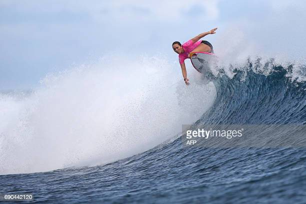 US surfer Carissa Moore competes in the Outerknown Fiji Women's Pro surfing competition in Tavarua Fiji on May 31 2017 / AFP PHOTO / Tom SERVAIS /...