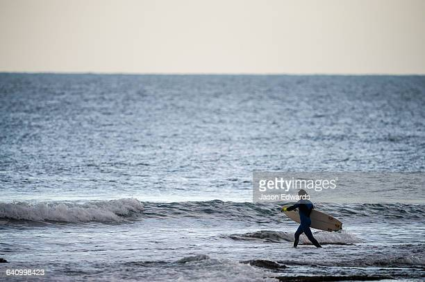 A surfer carries his surfboard across a reef at low tide.