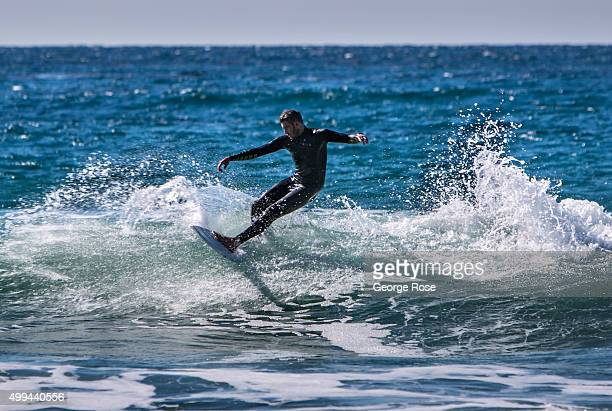 A surfer catches a wave at this remote west Santa Barbara County coastal beach on November 27 in Jalama Beach California Because of its close...
