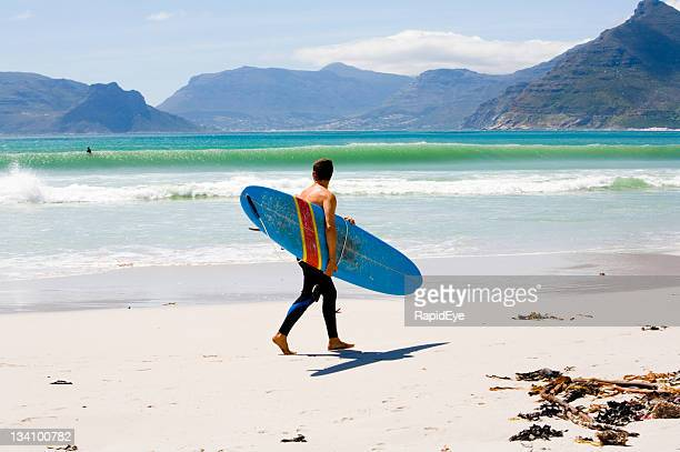 surfer checking out waves - southern africa stock pictures, royalty-free photos & images