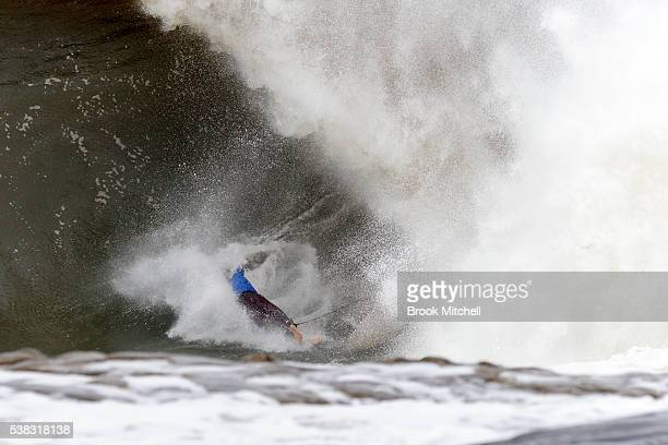 Surfer Evan Faulks wipes out during Cape Fear on June 6 2016 in Sydney Australia