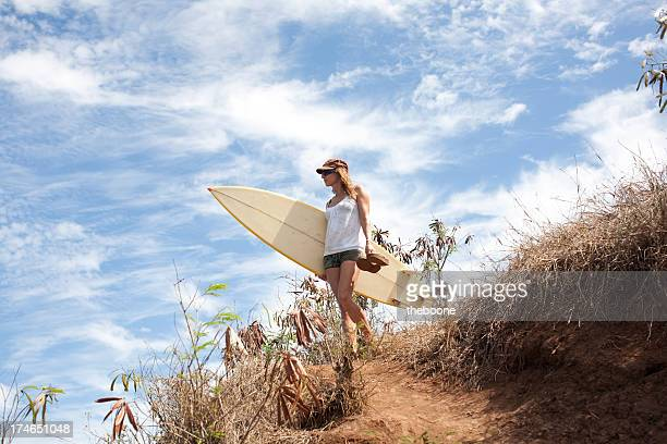 surfer girl at beach