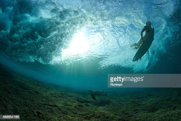 Surfer girl duck dives a wave with a turtle