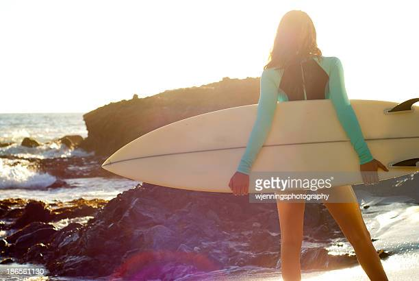 surfer girl in the sunlight - laguna beach california stock pictures, royalty-free photos & images