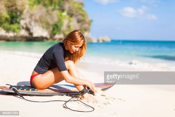 surfer girl - pretty asian feet stock photos and pictures