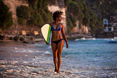 http://www.istockphoto.com/photo/surfer-girl-walking-with-surfboard-on-the-beach-at-sunset-gm822831856-133646177