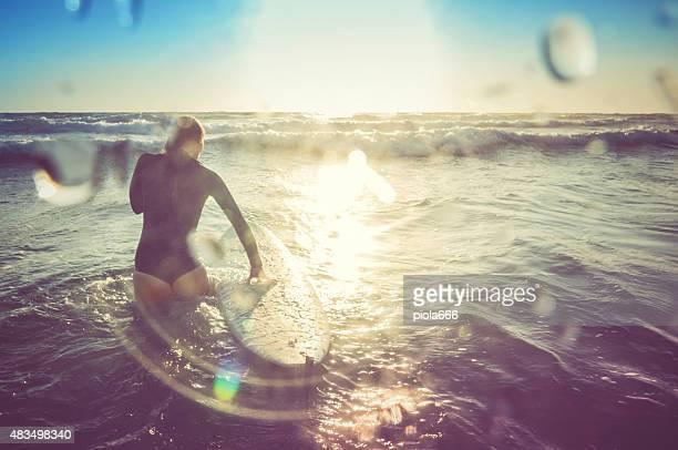 Surfer girls in action