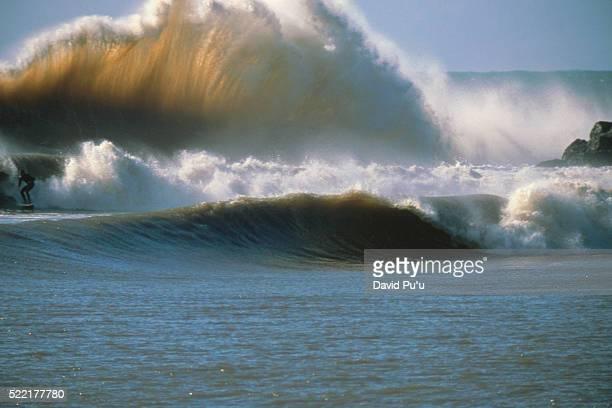 Surfer in Backwash Wave