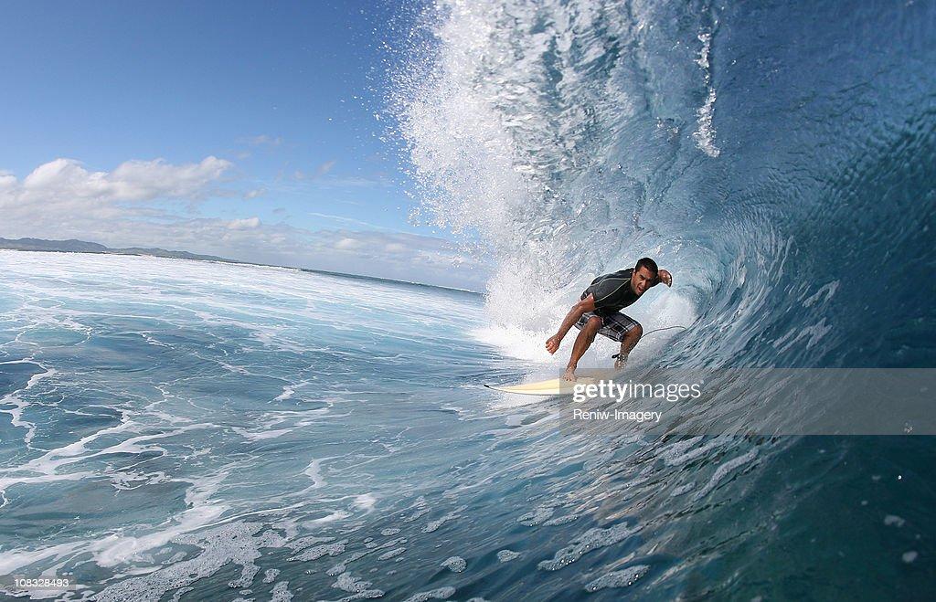 surfer inside a wave : Stock Photo