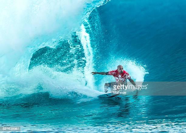 surfer kelly slater surfing 2014 billabong pro tahiti - billabong water stock photos and pictures