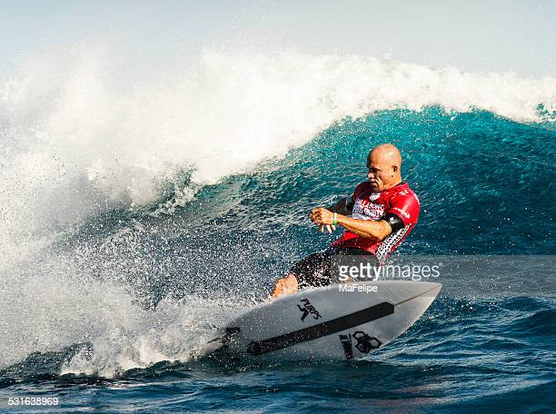 surfer kelly slater surfing 2014 billabong pro tahiti - kelly slater stock photos and pictures