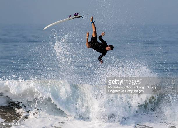 A surfer loses it on a wave in Newport Beach on Friday August 10 2018 A swell from Hurricane John will bring larger waves to southfacing beaches...
